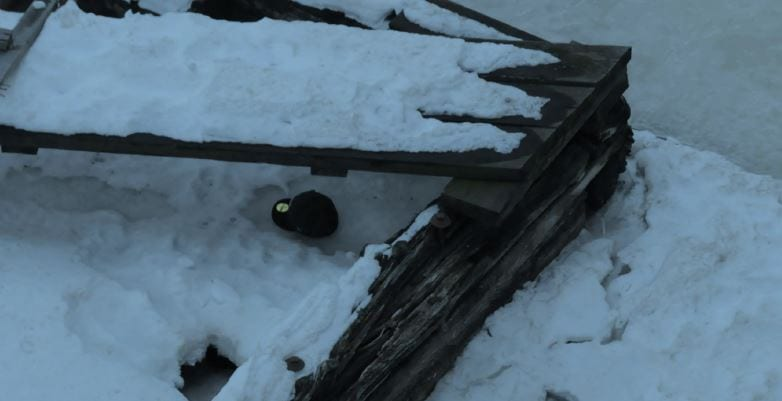 A Thunder Bay police photograph of Jordan Wabasse's hat found by river ice.