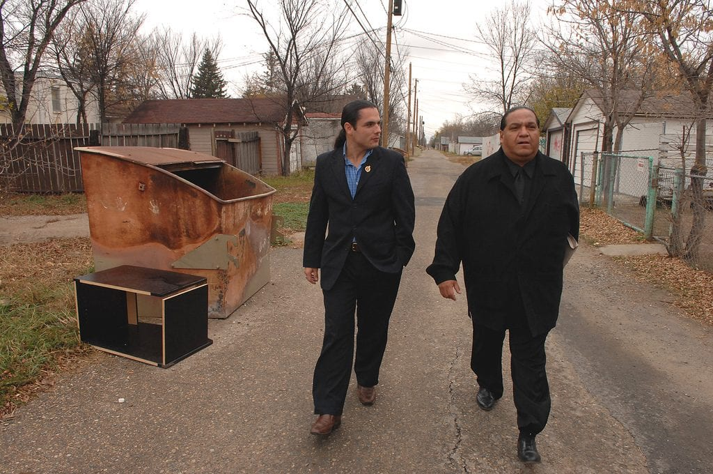 Former CAP national chiefs Sen. Patrick Brazeau and Kevin Daniels walk together in 2009. Photo courtesy of Mark Taylor.