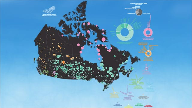 One of the maps inside a new Indigenous atlas shows different languages.