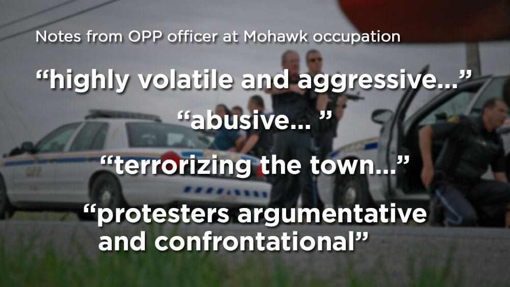 Notes from OPP officer during Mohawk occupation