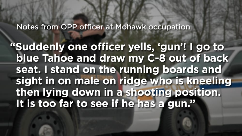 OPP officer's notes from Mohawk occupation