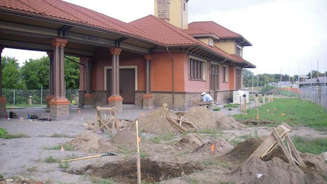 The old Allandale rail station in Barrie. In the foreground a test square can be seen where archaeologists are searching for human bones. Photo courtesy: Mike Henry