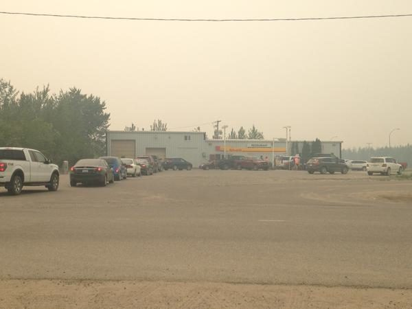 Long lines at a local gas station in La Ronge Saturday.