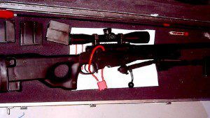 Sniper rifle that was part of the weaponry used by the raiding police force. APTN'/ File photo.